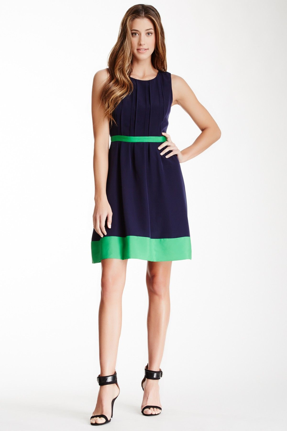 Pleated Colorblock Dress #green