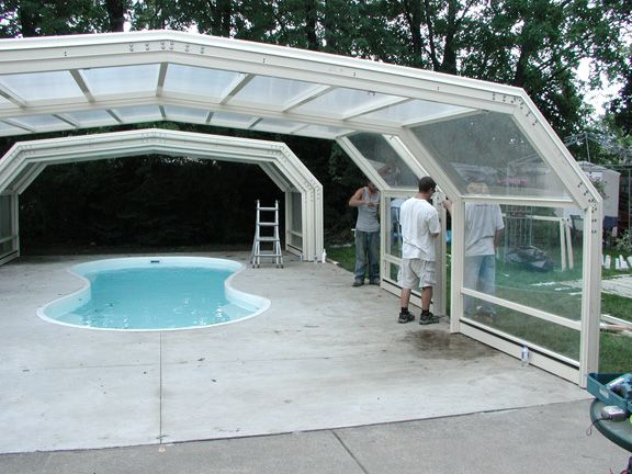 Canada Retractable Pool Enclosure Manufactured By Roll A Cover Pool Enclosures Residential Pool Pool