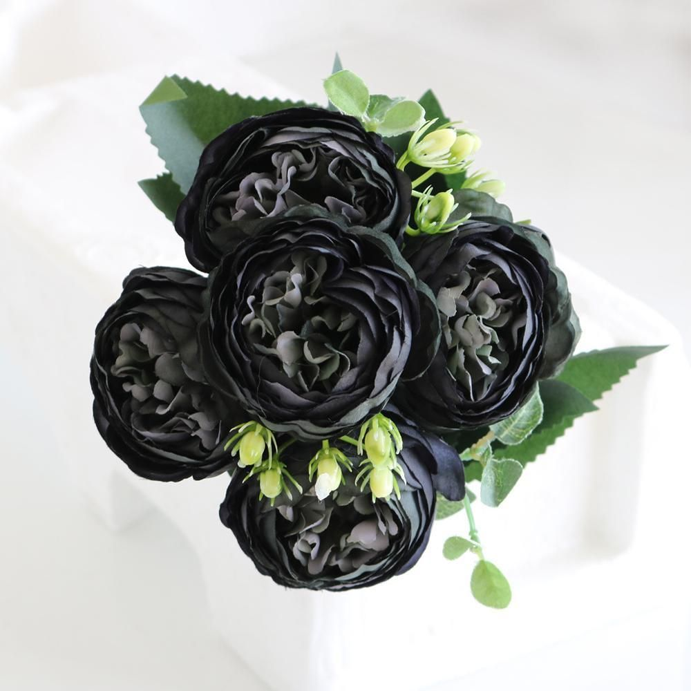 Photo of 5 Big Heads/Bouquet Peony Artificial Flowers Home Decoration Accessories Wedding Party Silk Peonies Diy Craft Roses Flowers – BLACK