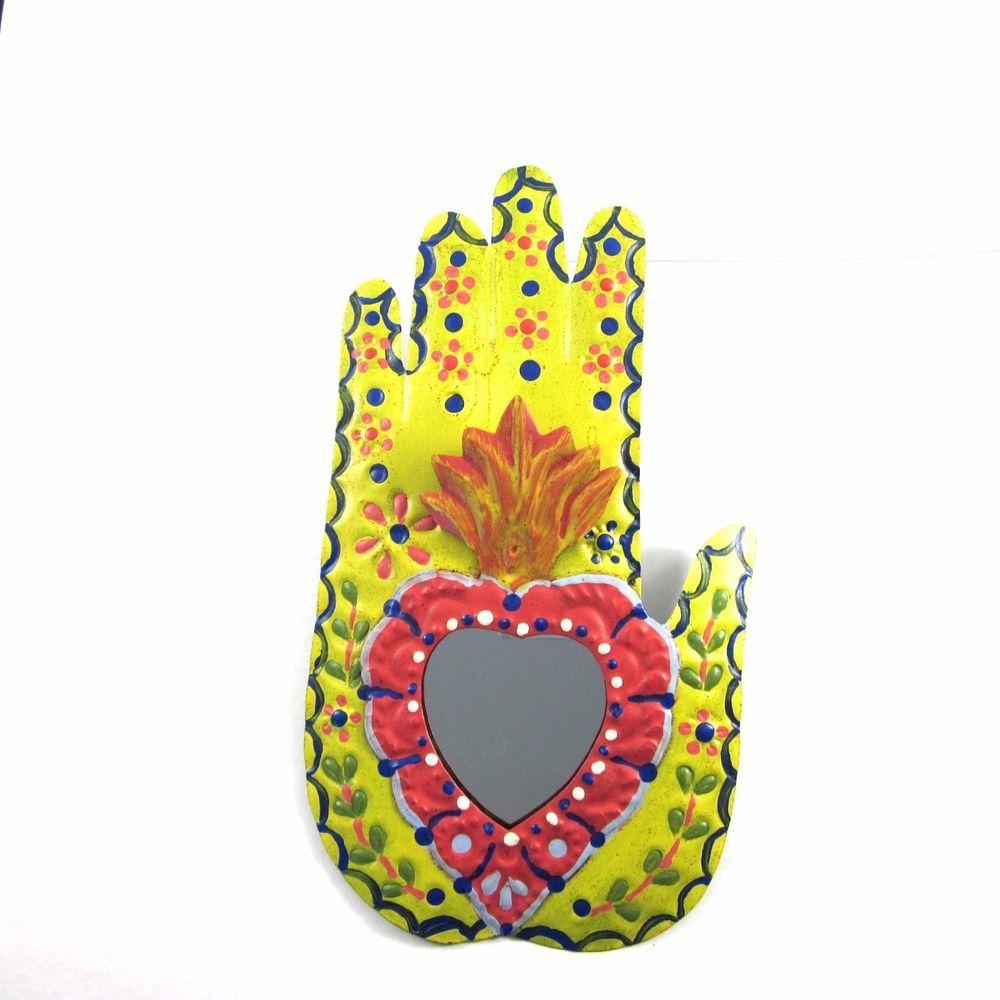 Mexican Tin Milagros Hand with Heart Mirror Handmade Folk Art Wall ...