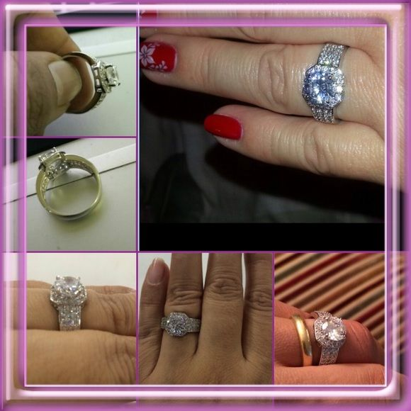 NEW LISTING Platinum Plated Square Shape Ring New in package. Silver. Trendy Platinum Plated Square Shape Micro Pave ring. AAA Cubic Zircon. Size 9. (3/5) Tamarismom Jewelry Rings