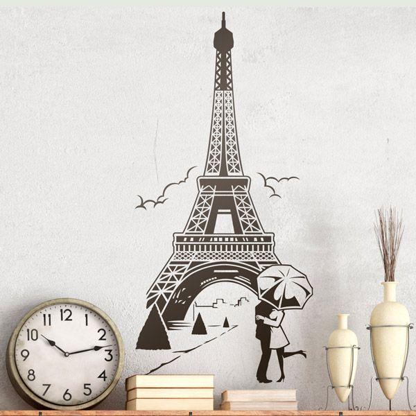 Vinilos Decorativos Enamorados Bajo La Torre Eiffel Paris Eiffel Paris Ciudad Decoracion Pared Teleadhes Vinilos Torre Eiffel Papel Pintado Para Paredes
