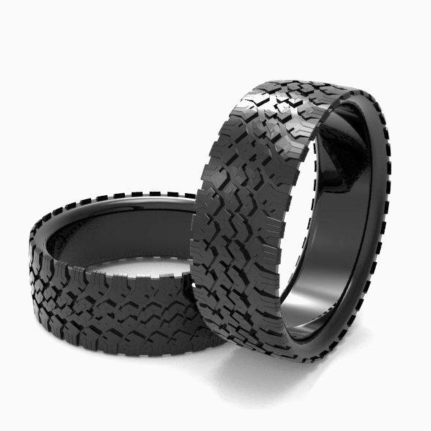 Custom Made Mens Tire Wedding Band Black Silver Ring Tread