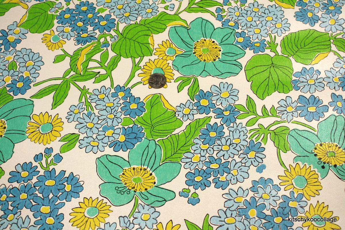 Thank you, 60s. Vintage wallpaper, Retro wallpaper, Blue