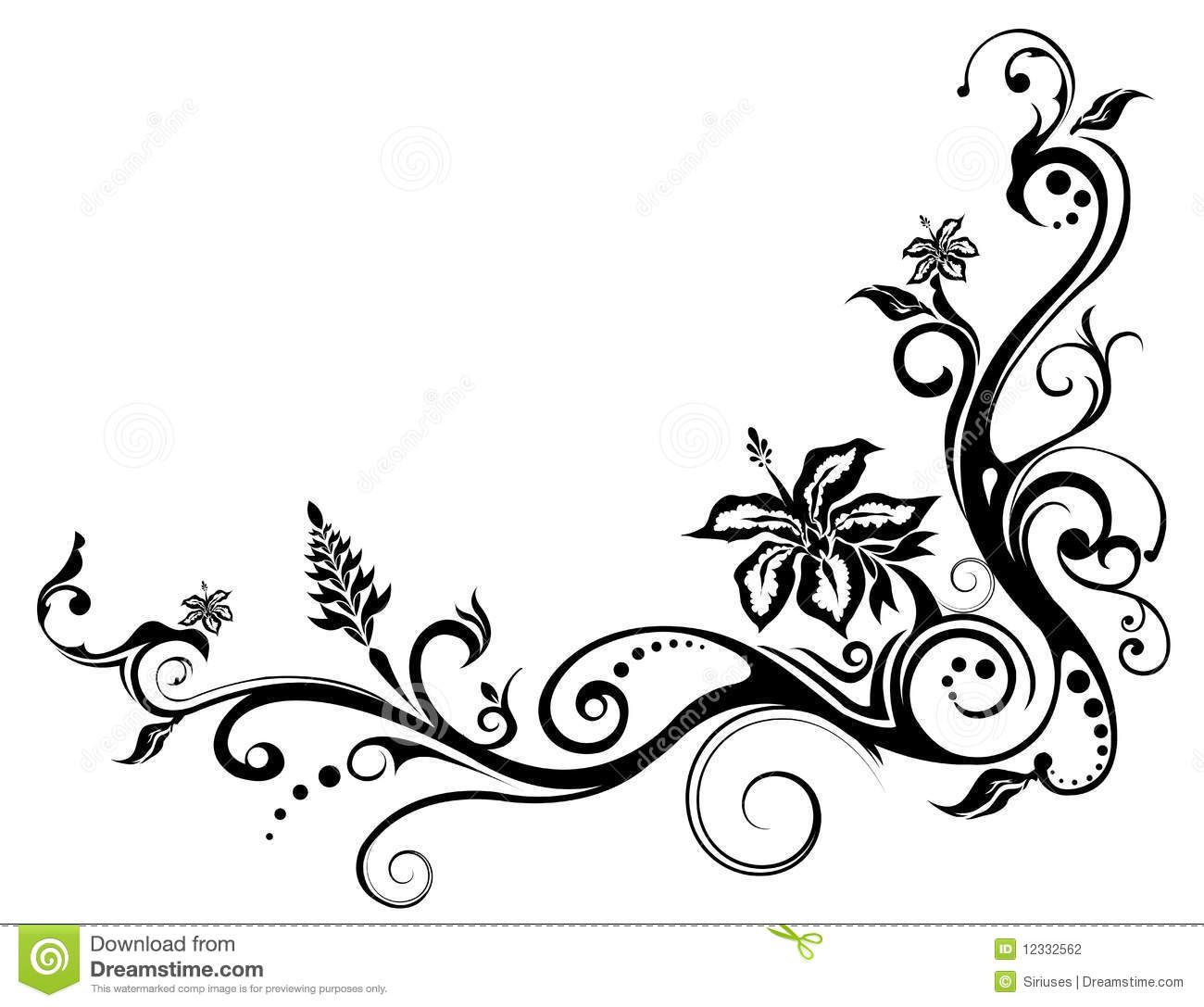 Flower Vine Line Drawing : Viewing gallery for floral vine pattern tattoo