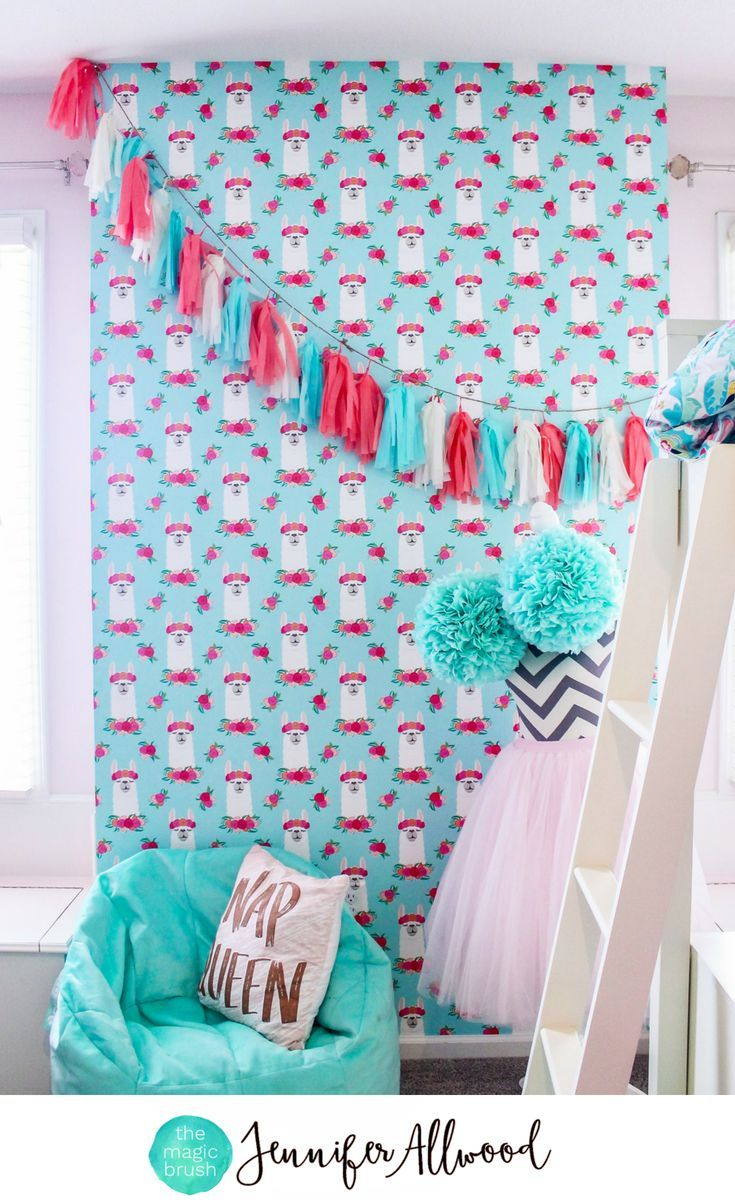 The Cutest Llama Wallpaper for a Girl's Bedroom by Jennifer Allwood | Llama Decor | Girls Bedroom Decorating Ideas | Kids Bedroom | Tween Bedroom | Blue + Coral Bedroom Colors