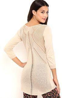 Three Quarter Sleeve Tunic with Crochet Back