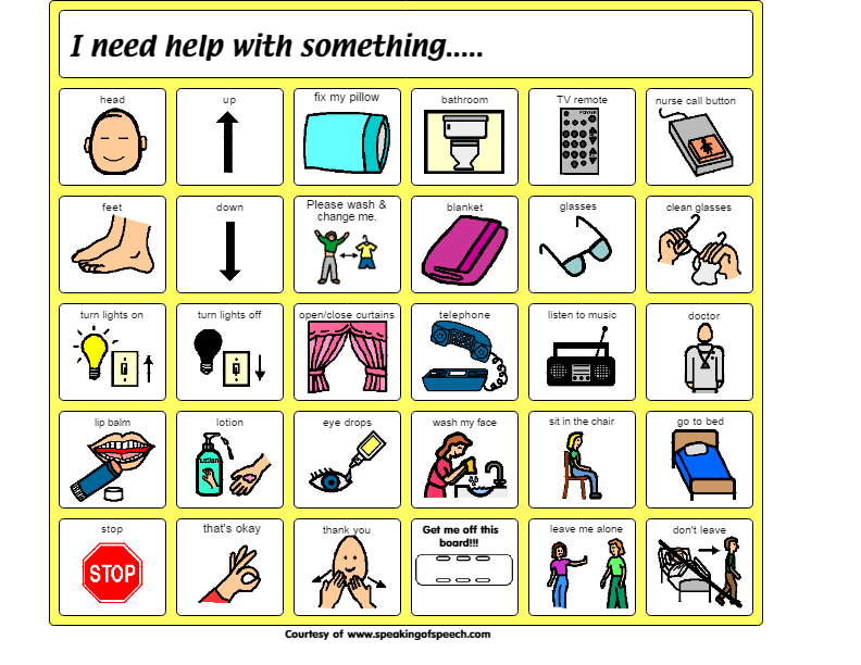 picture about Printable Communication Board for Adults named Pin by means of Jack S upon AAC- Healthcare and Unexpected emergency Cue playing cards