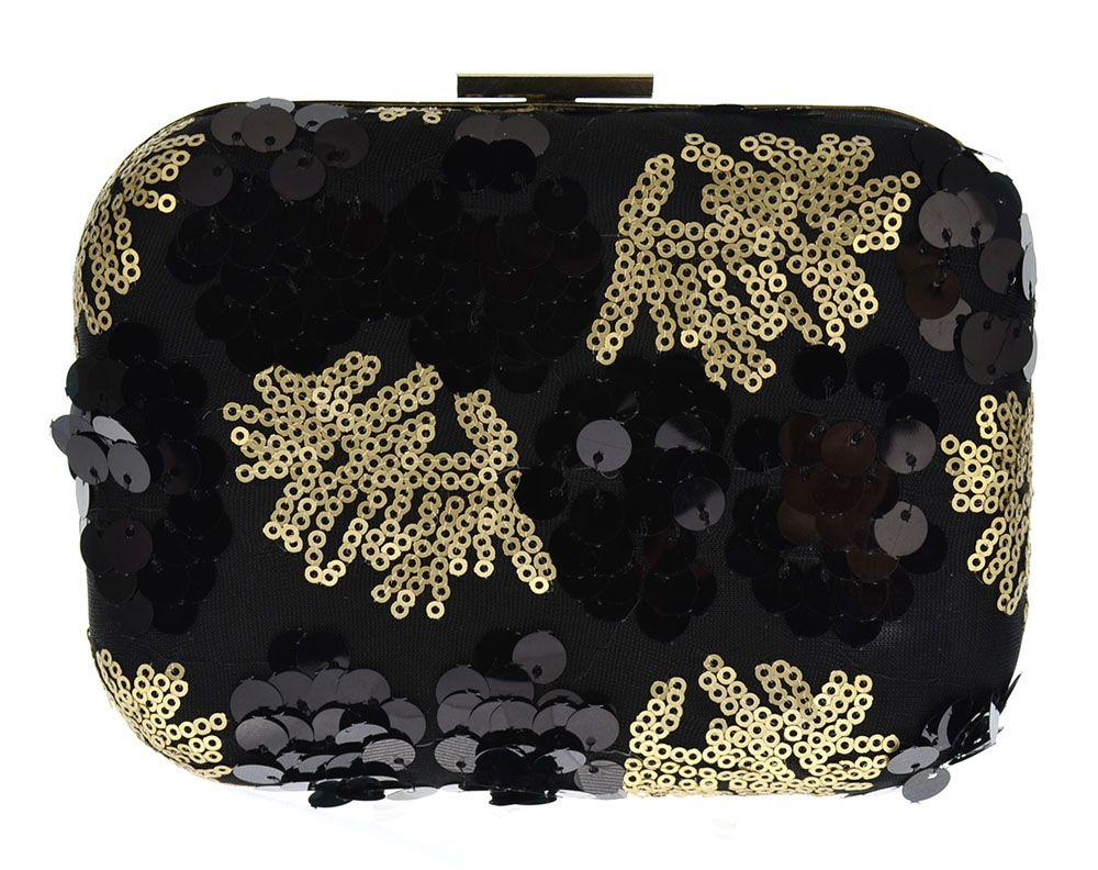 Clutch Paetê Preto e Dourado. Bolsa de festa bordada com paetês dourados e pretos.