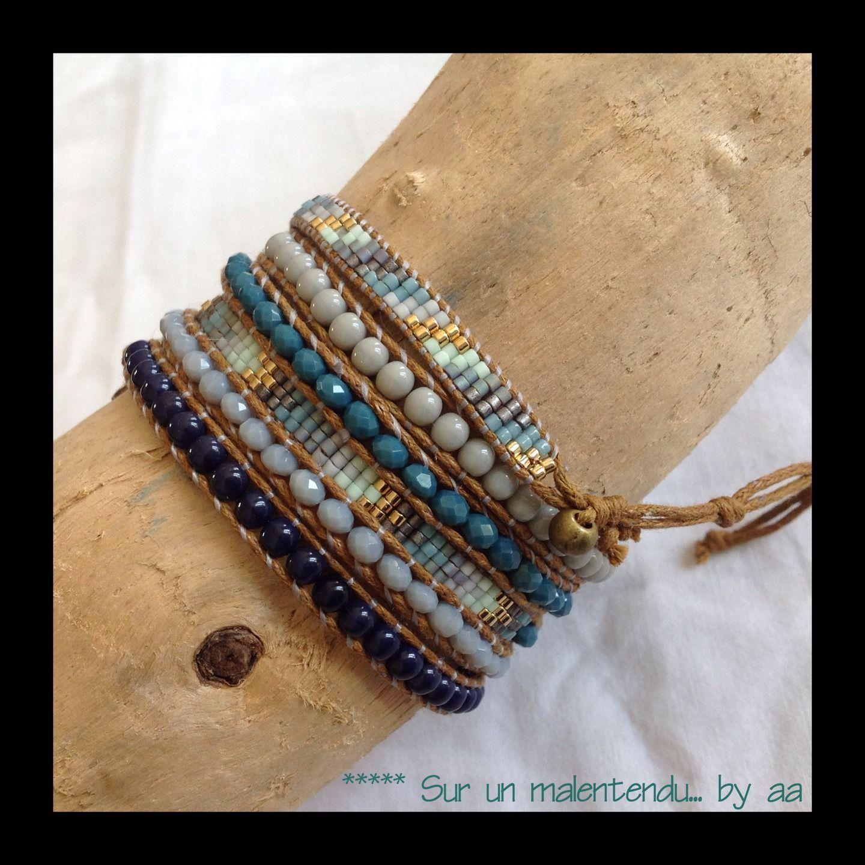 Wrap Marine et menthe à l'eau : Bracelet par sur-un-malentendu-by-aa