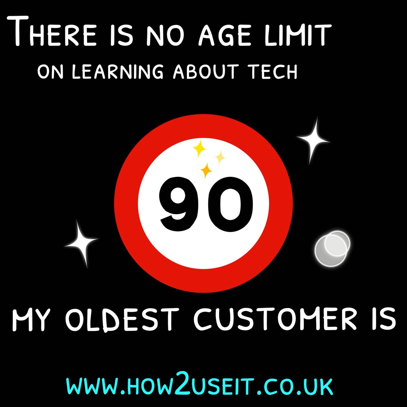 Contrary to popular belief there is no #agelimit to learning #technology Oldest Cust is 90!   www.how2useit.co.uk
