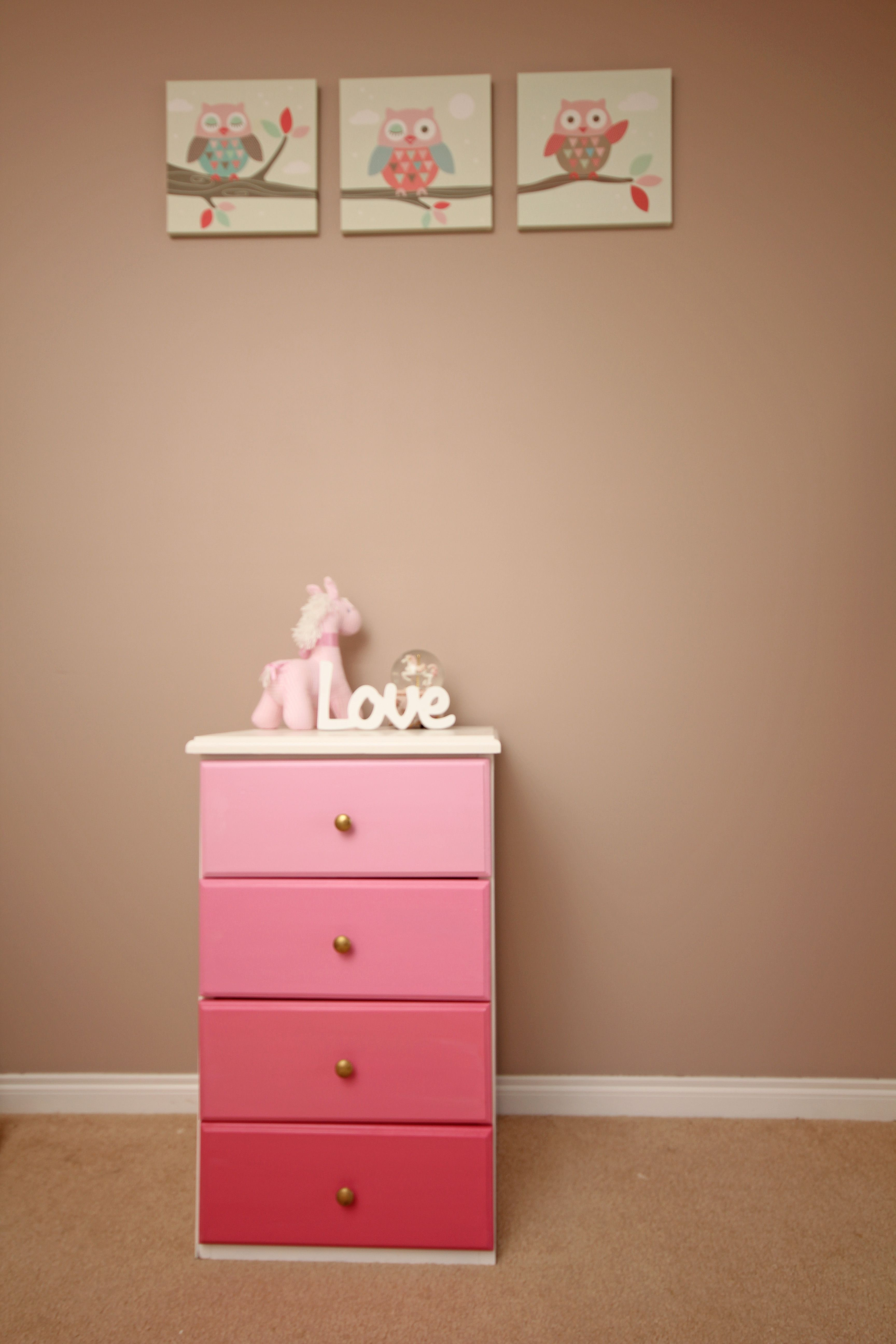 Pink Bedside Table: Girls Bedroom Pink Ombre Chest Of Drawers Or Bedside Table