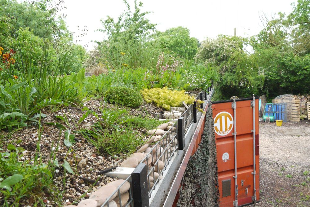 Modular Green Roof Tray System To Cover A Used Freight Container