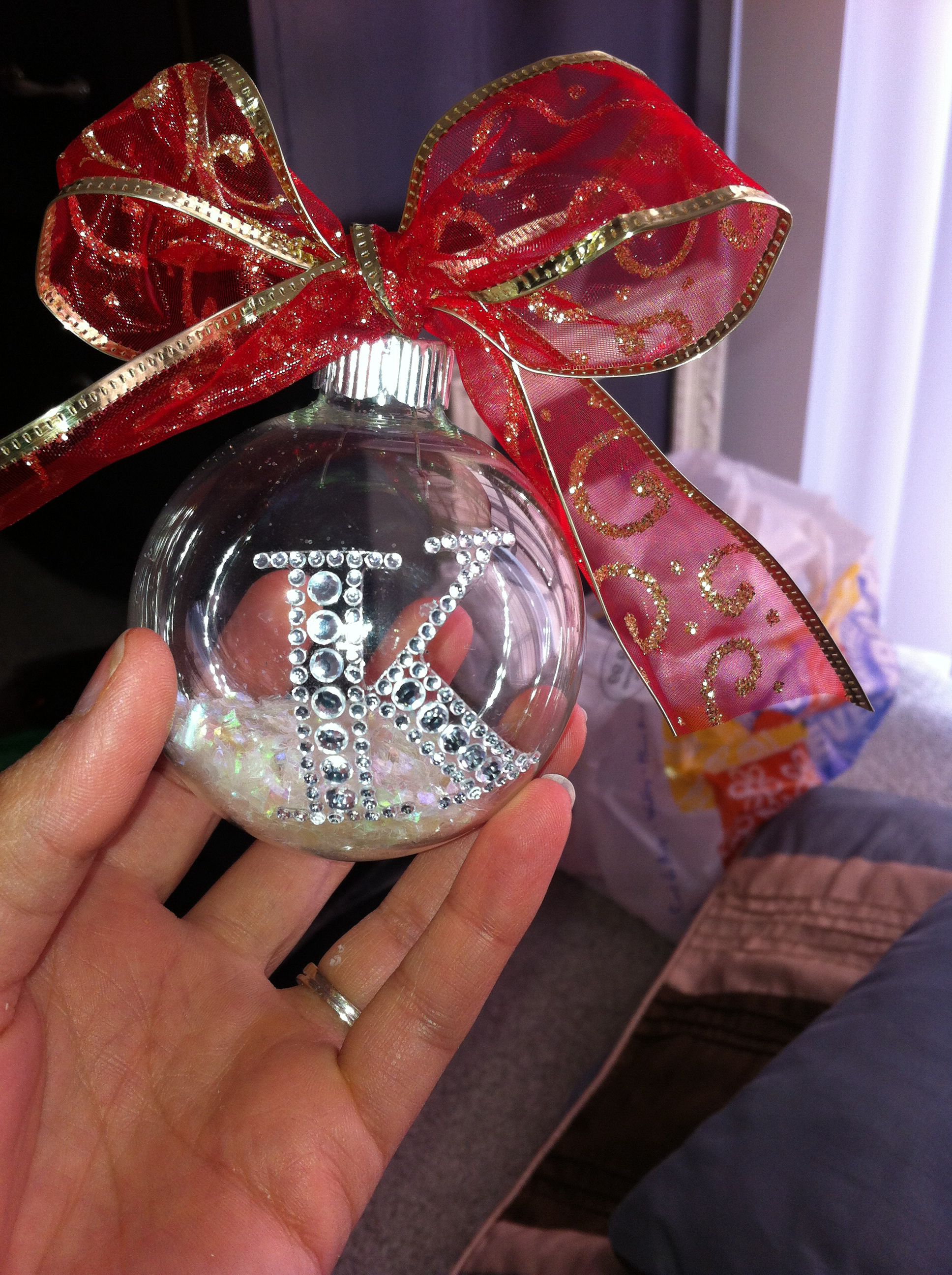 Christmas ornaments with rhinestone initial that I saw at ...