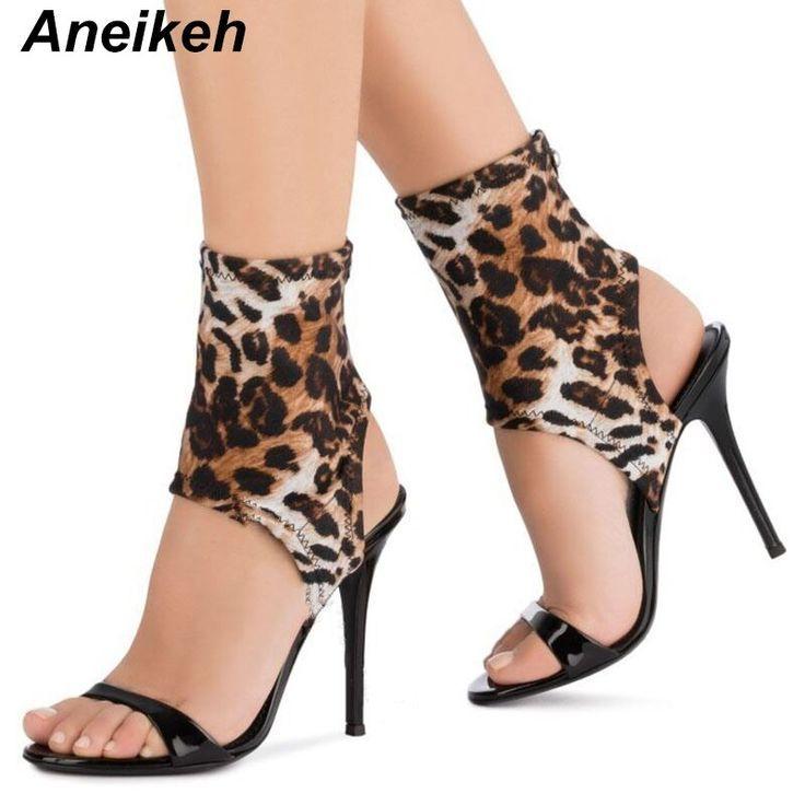 Aneikeh 2019 NEW Novelty PU Summer Sandals Women Shoes Leopard Grain Round Toe Thin High Heel Aneikeh 2019 NEW Novelty PU Summer Sandals Women Shoes Leopard Grain Round T...