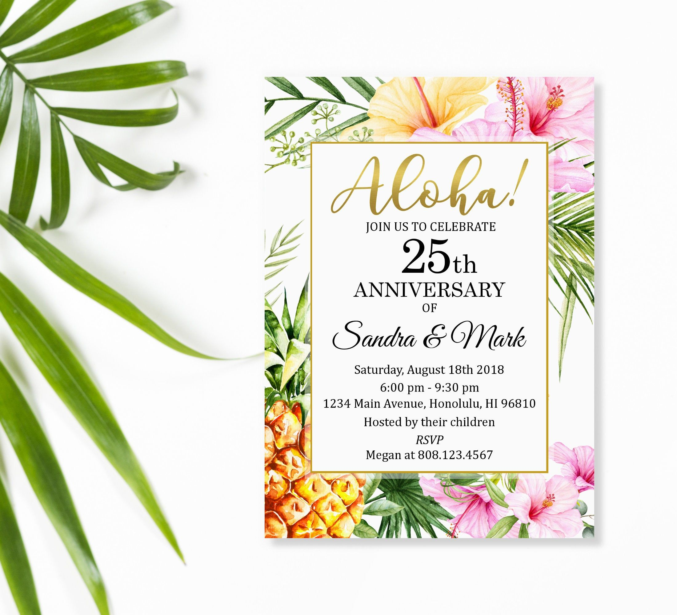 Any year hawaiian luau wedding anniversary invitation