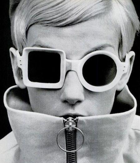 bdf718aa08a7 Model wearing Pierre Cardin sunglasses in 1971 // Black and white 60's /  70's Sunglasses