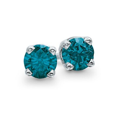 Zales Enhanced Blue Diamond Accent Solitaire Stud Earrings in 14K White Gold fiJKW