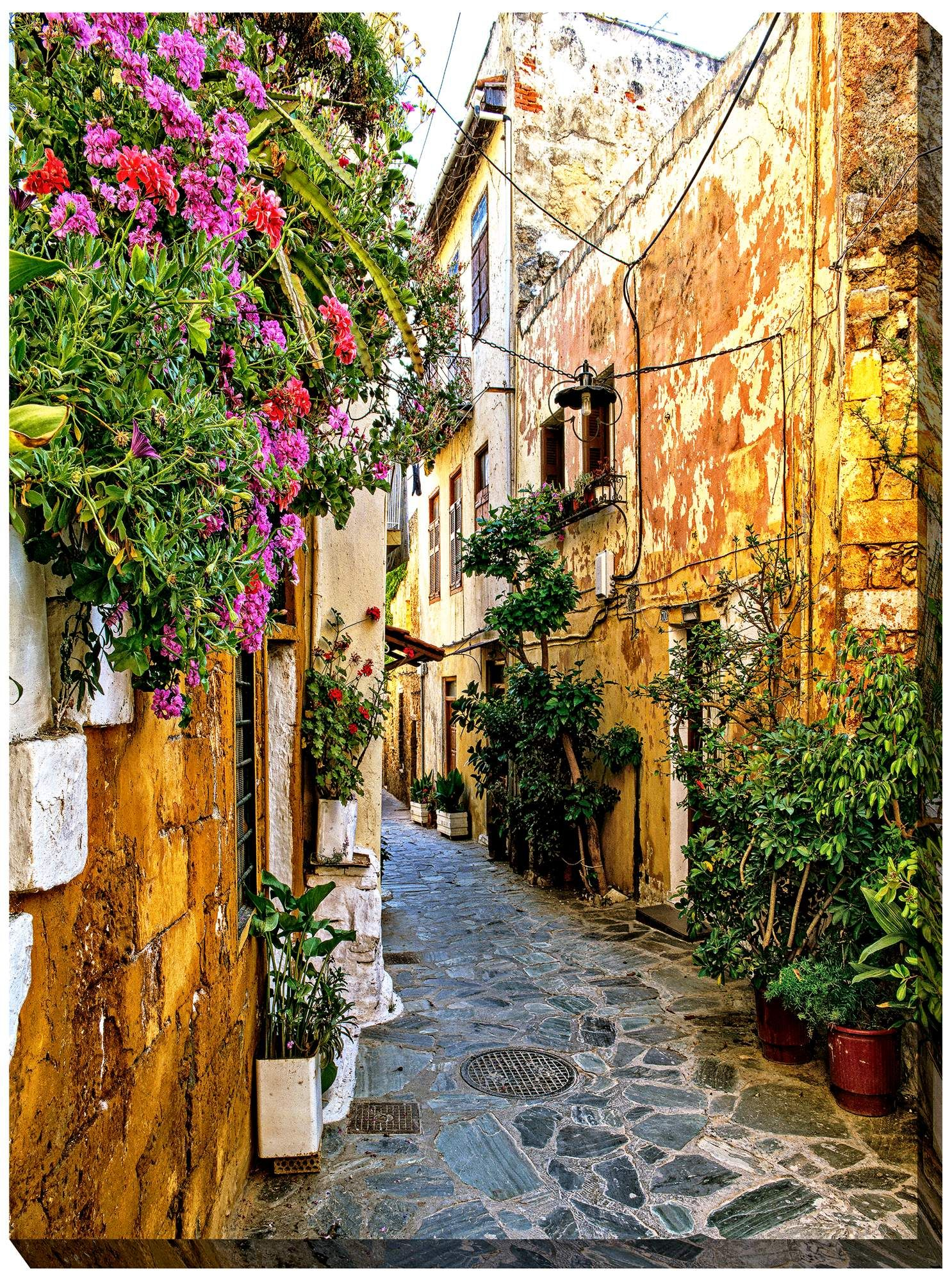 Wall Art Chania Alley 40 High All Weather Outdoor Canvas Wall Art Outdoor Wall Art Tuscan Decorating Outdoor Canvas