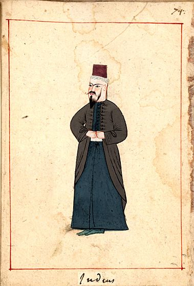 Jew. The 'Rålamb Costume Book' is a small volume containing 121 miniatures in Indian ink with gouache and some gilding, displaying Turkish officials, occupations and folk types. They were acquired in Constantinople in 1657-58 by Claes Rålamb who led a Swedish embassy to the Sublime Porte, and arrived in the Swedish Royal Library / Manuscript Department in 1886.