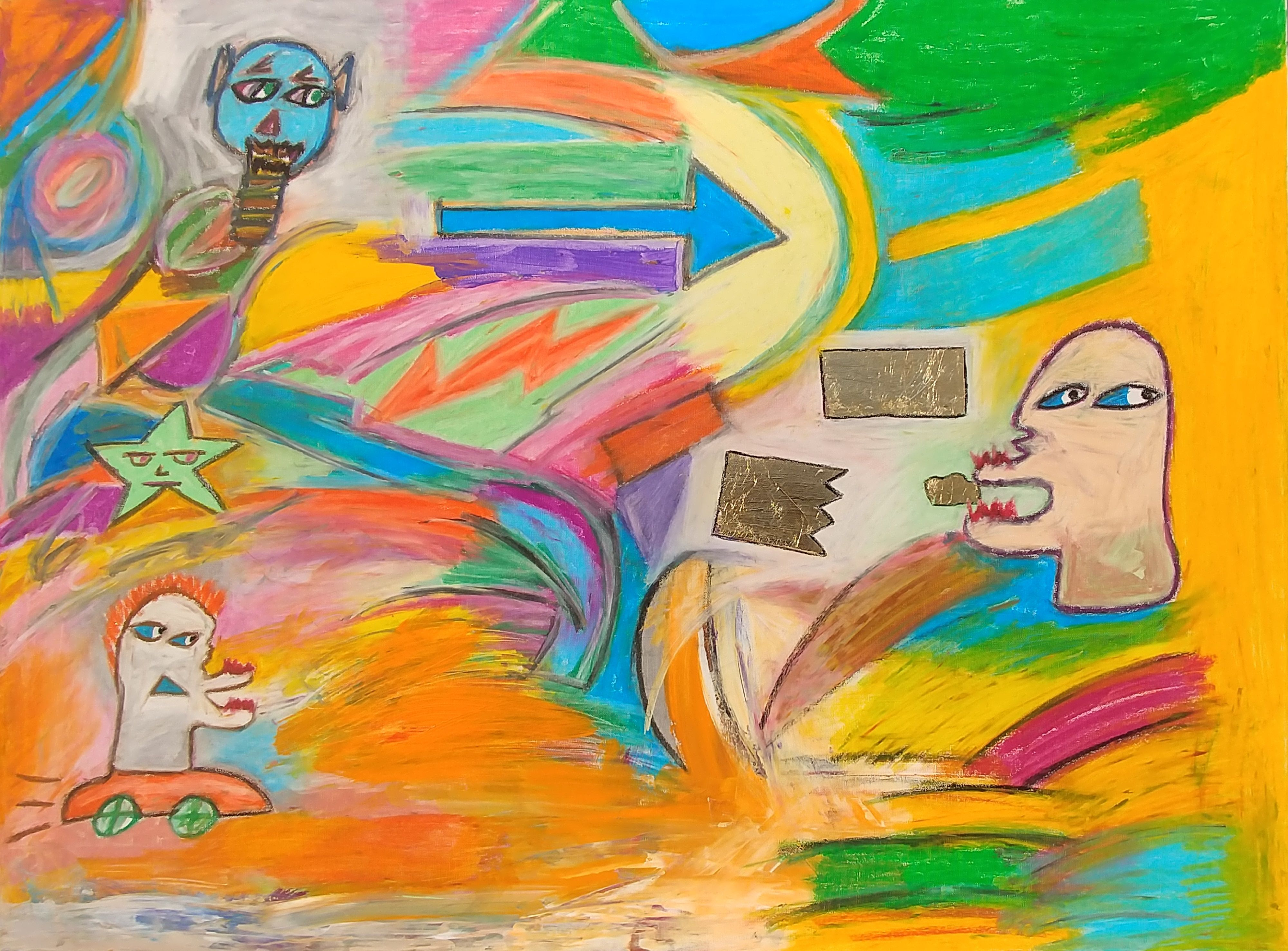 Dr Defiant Pop Art Art Expressionist Painting With Oil Stick