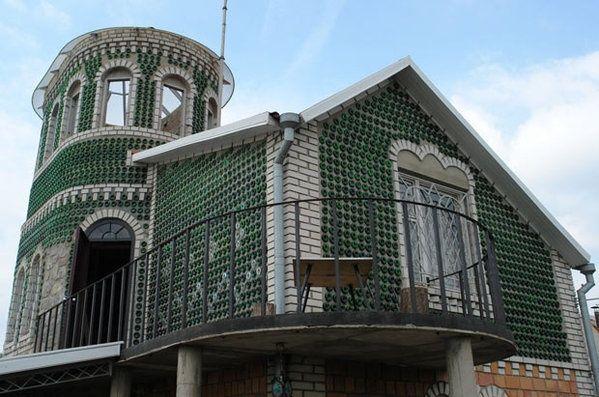 Ukraine tiny homes house made of empty champagne bottles built in ukraine