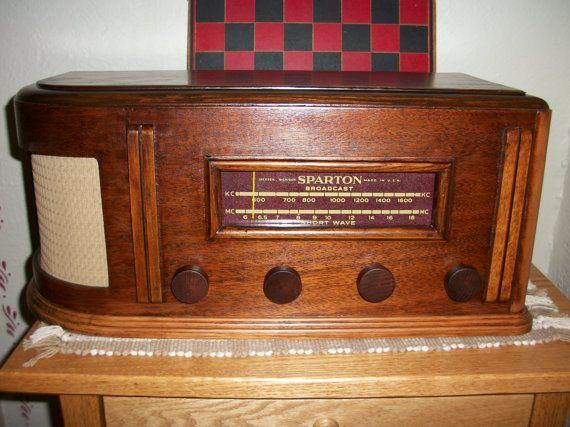 Vintage 1948 Sparton Wood Tabletop Tube Radio by MyGrandadsAttic ...