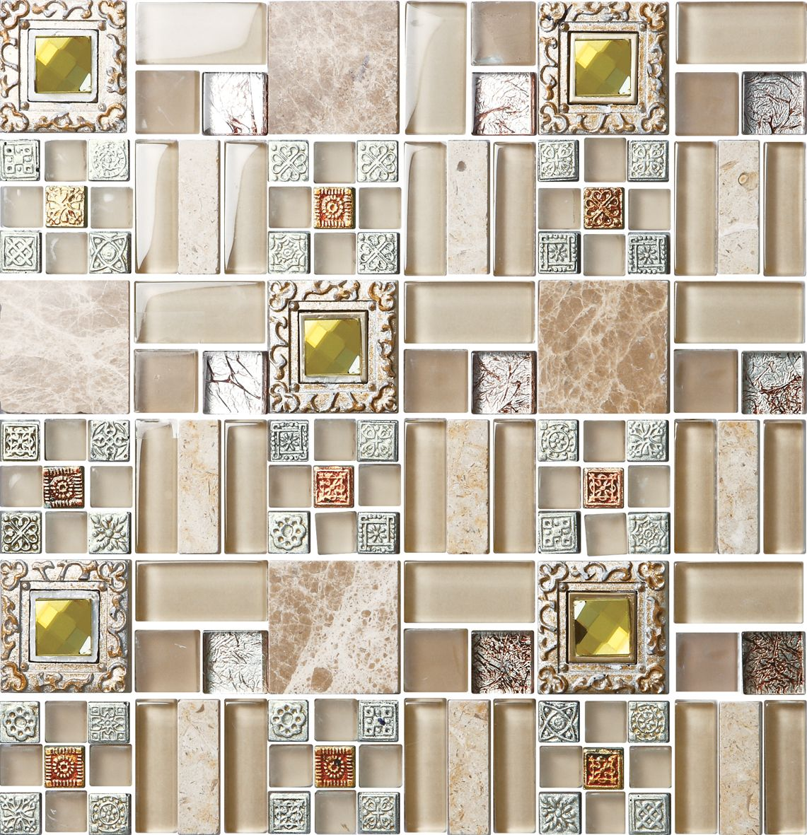 luxury golden and silver crystal glass mosaic tile/luxury hotel