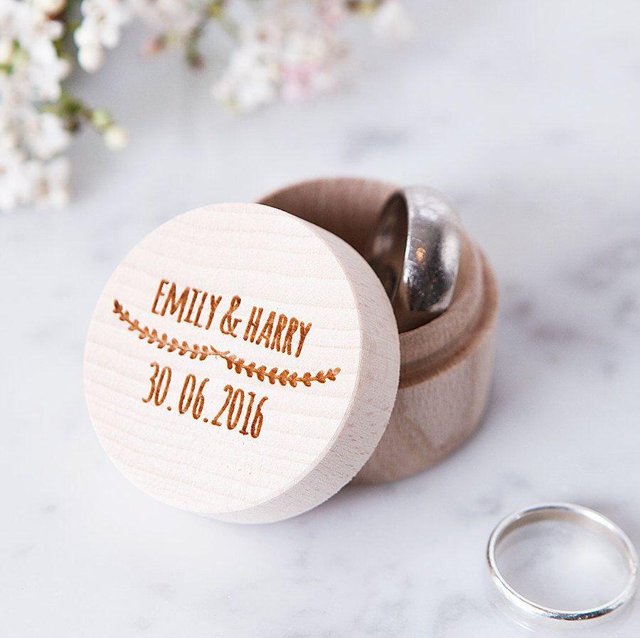 Engraved Wooden Ring Box - Wedding Ring Box - Rustic Ring Box - Ring ...