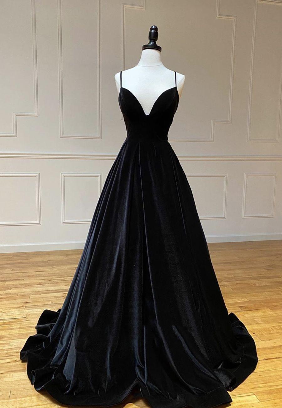 Black V Neck Velvet Prom Dress Evening Dress