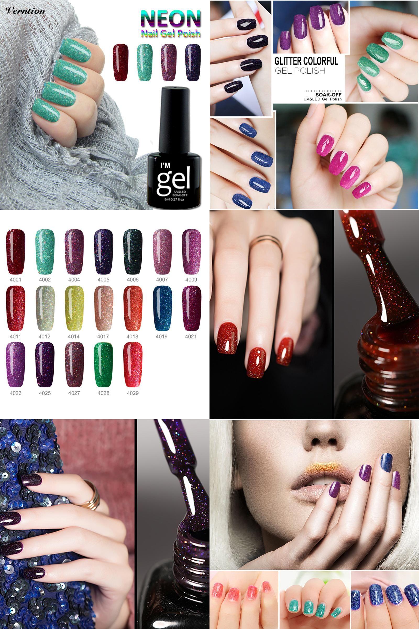 [Visit to Buy] Verntion Bling Neon Color Gel Lak Varnish Soak Off Gelpolish Vernis Semi Permanent 8ml brand UV Top and Base Gel Nail Polish #Advertisement