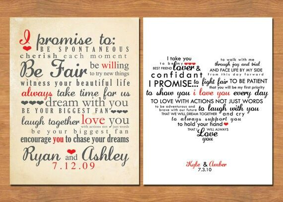 3 Personalized Wedding Vow Keepsake
