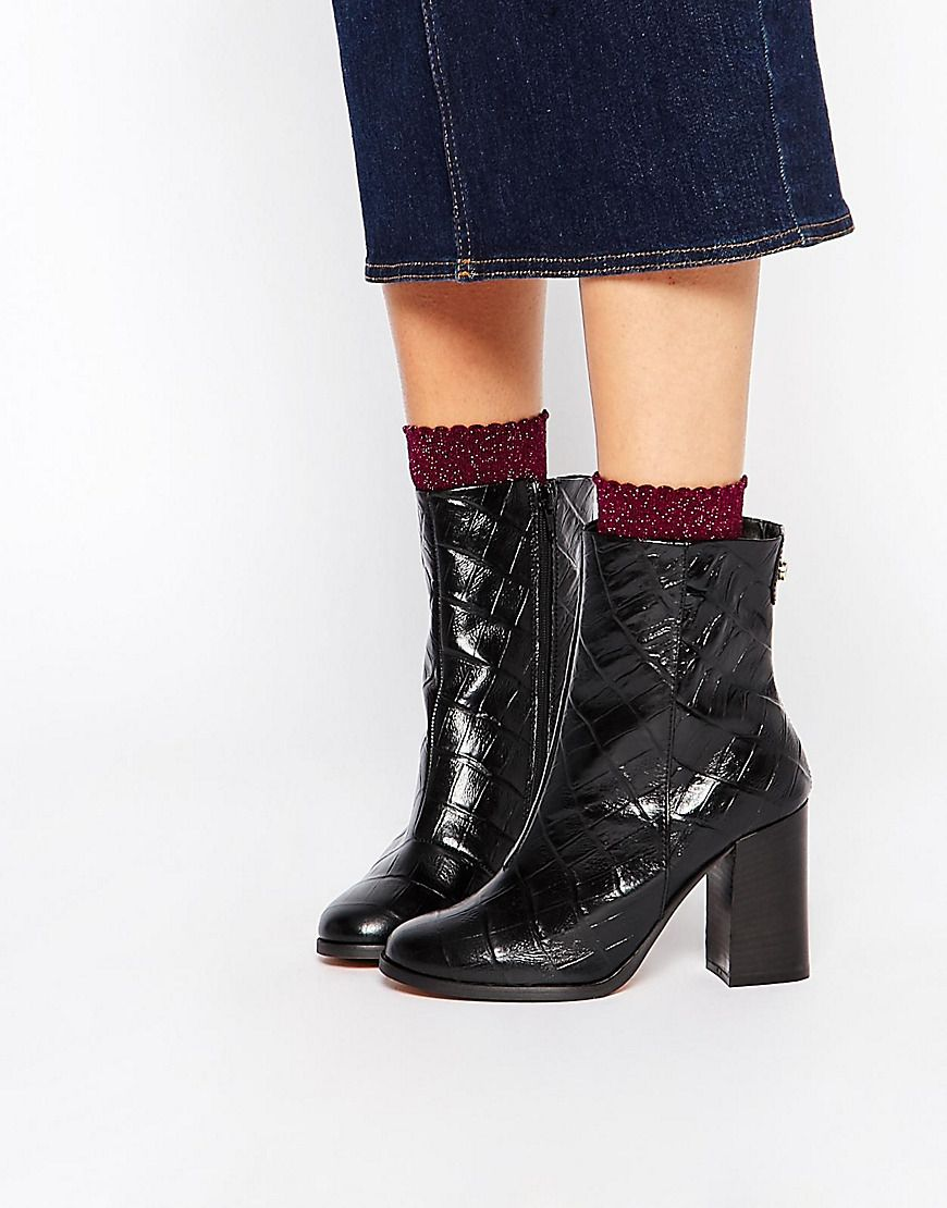 Buy Women Shoes / Carvela Slither Black Snake Effect Block Heel Boots