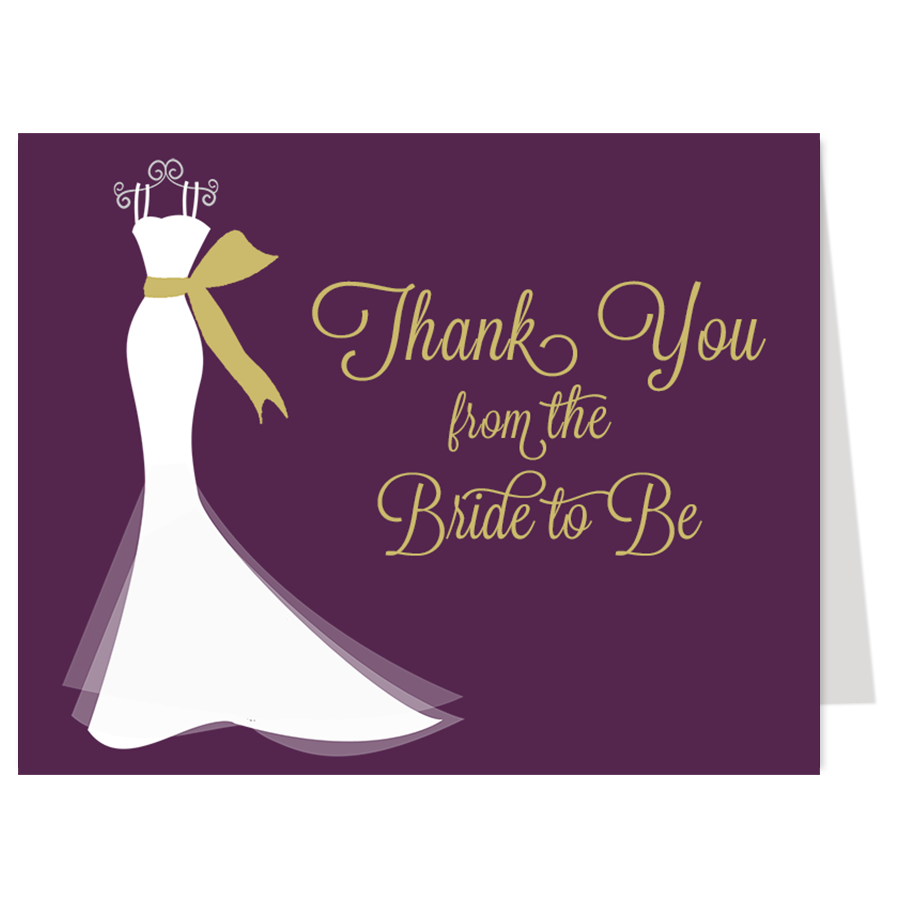 Wedding dresses with purple accents  Elegant Gown Plum and Gold Thank You Card  Elegant gown Elegant