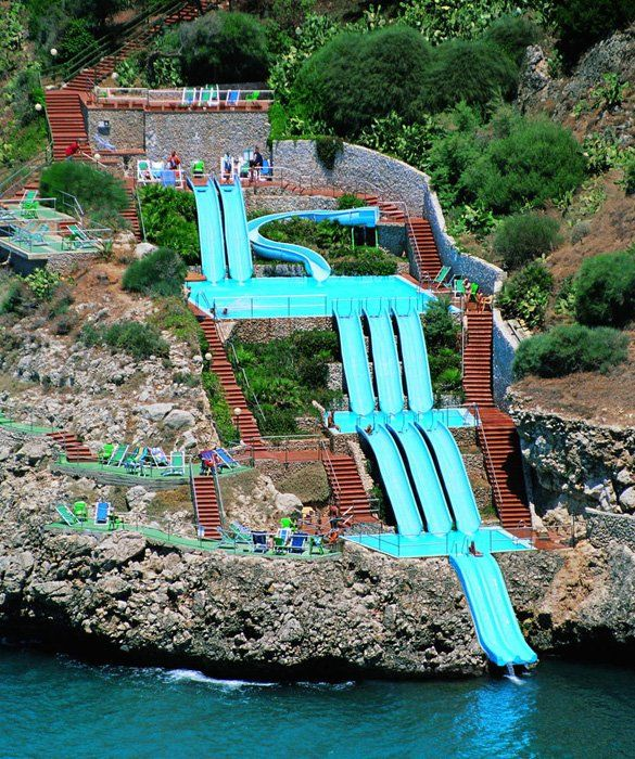 Plunge Into The Mediterranean Sea On This Water Slide: The Citta Del Mare  Along Italyu0027s Sicilian Coast.