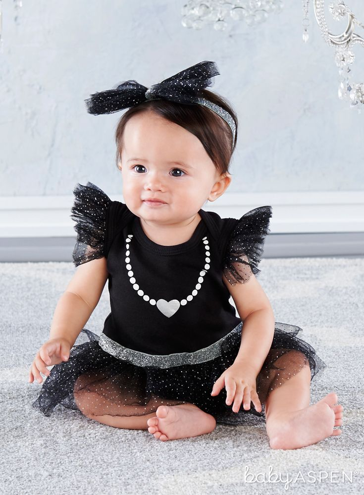 Baby Pearl Dress Newborn Gift Baby Birthday Outfit Designer Inspired Dress Baby Black Dress Baby Little Black Dress Baby Birthday Gift