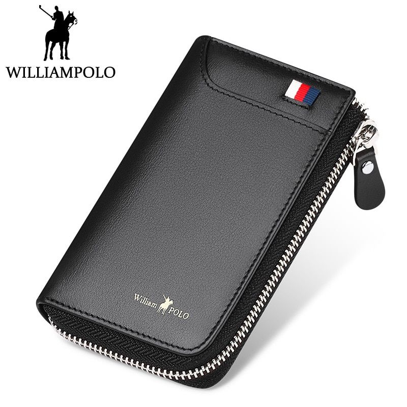 b284a93ec0 WILLIAMPOLO Genuine Leather Credit Card Holder Men's Zipper Card Holder  2018 New Design Small Pocket Pouch Card Wallet Holder