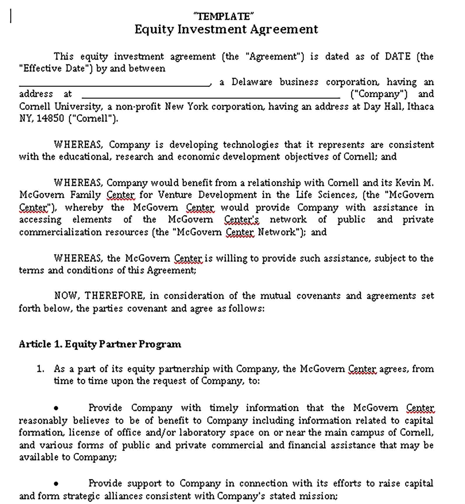 Sample Investment Agreement Template Investing Business Investment Templates