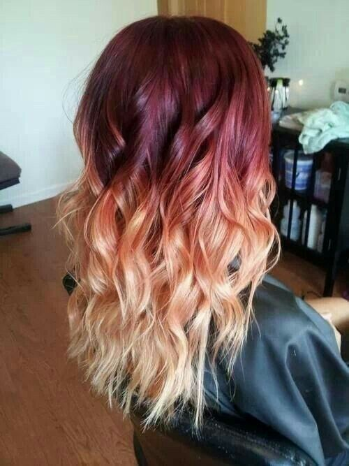 Red Purple Maroon To Blonde Ombre Hair Ombre Hair Blonde Red Ombre Hair Hair Styles