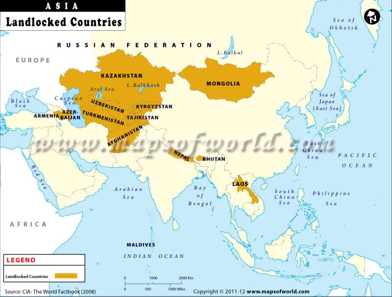 The Map shows the Landlocked Countries of Asia | Asia maps in 2019 ...