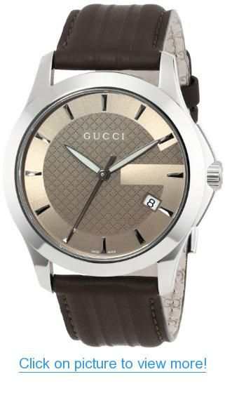 2d2440b2369 Gucci Men s YA126403 G-Timeless Medium Brown Dial Brown Leather Strap Watch   Gucci  Mens  YA126403  G Timeless  Medium  Brown  Dial  Leather  Strap   Watch