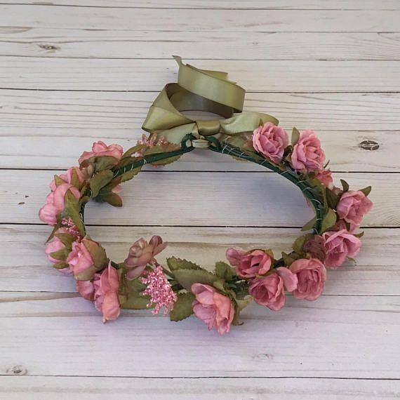 Dusty Rose Flower Crown Pink Flower Girl Flower Crown Boho Rose Flower Crown Boho Flower Crown Flower Crown
