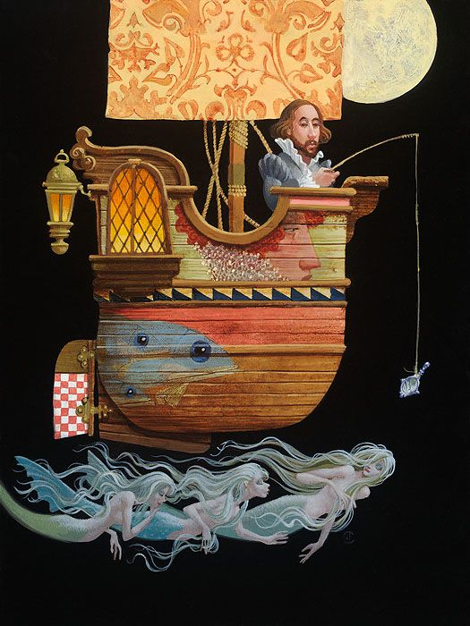 James C Christensen Fishing For Mermaids Limited Edition