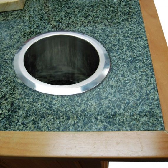 Built In Countertop Trash And Scrap Chute Stainless Steel