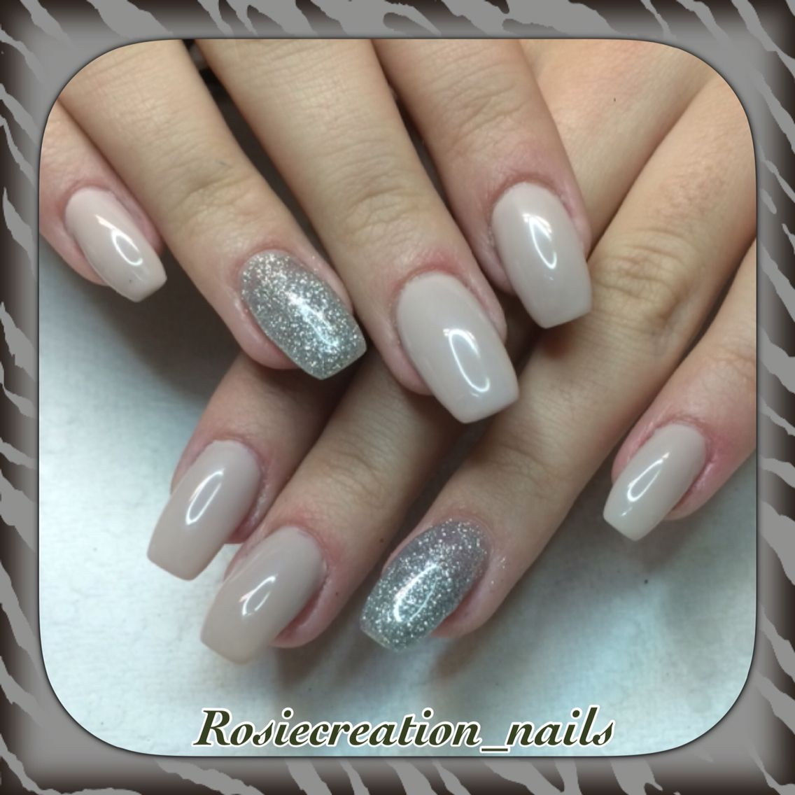 Gel nails , Nude with silver sparkles , ballerina nail shape . Beautiful  set · Forme D\u0027ongles