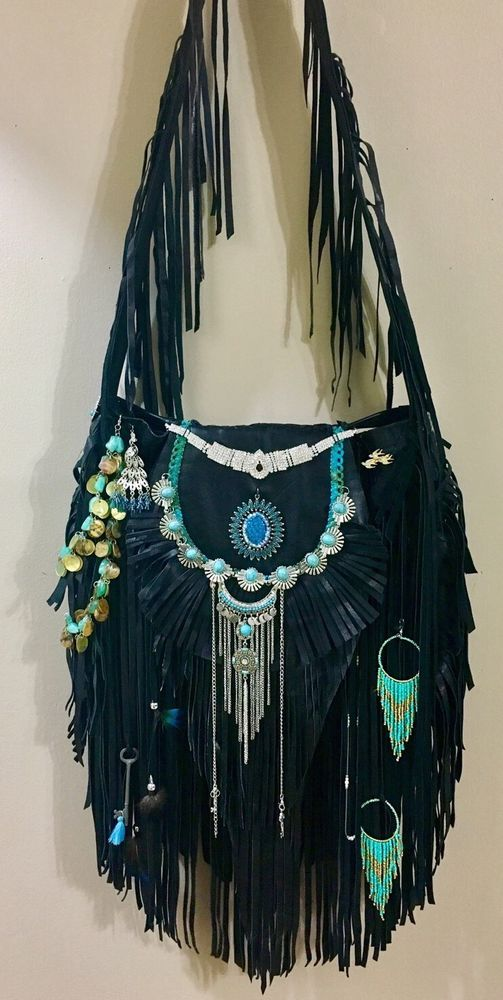 Handmade Black Leather Cross Body Fringe Bag X-Large Boho Hobo Gypsy Purse B.Joy  | eBay