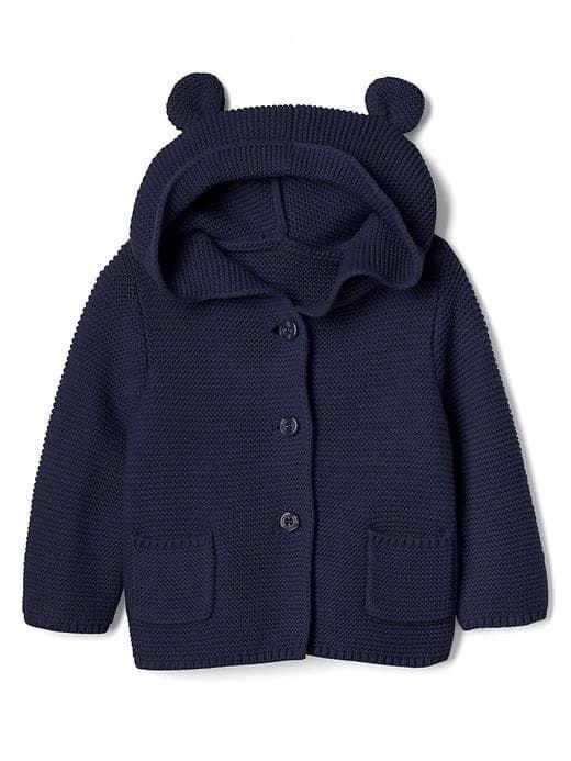 53862e357 Gap Babies  Bear Garter Hoodie Sweater Dark Night