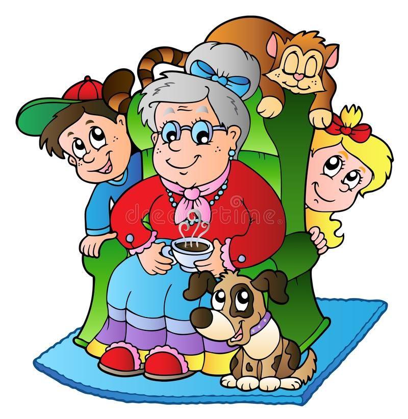Cartoon grandma with two kids. Illustration , #SPONSORED, #grandma, #Cartoon, #Illustration, #kids #ad