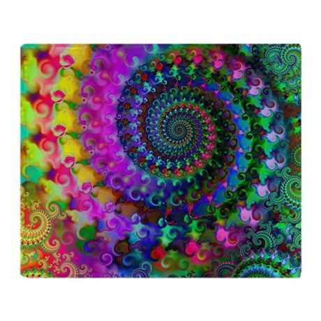 Psychedelic Rainbow Fractal Pattern Throw Blanket on CafePress.com