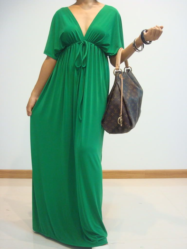 Nwt Women Party Summer Green Kimono Long Maxi Dress Plus